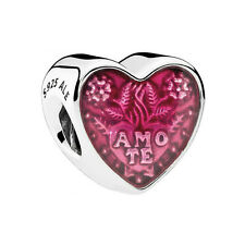 Authentic Pandora Sterling Silver Latin Love Heart Charm 792048EN117