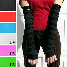 1032 Black Mummy Slashed Arm Warmers Cyber Goth Steampunk Ripped Gloves Striped