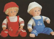"KNITTING PATTERN 16"" BABY DOLLS CLOTHES BOY GIRL OUTFITS"