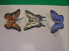 LENOX BUTTERFLY MEADOW ORNAMENTS Set of 3 first quality NEW in BOX 3 inches