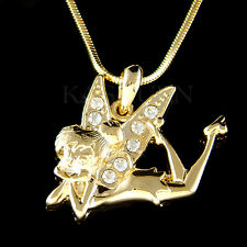 w Swarovski Crystal Gold Tone Tinkerbell Tinker Bell Fairy Angel Charm Necklace