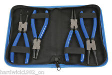 "CIRCLIP PLIER TOOL SET 4 PIECE STORAGE CASE 7"" CARBON STEEL EXTERNAL INTERNAL"