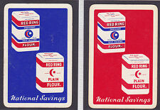 2 National Savings,Red Ring Flour ,Vintage Single Playing Cards
