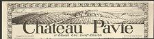 33 SAINT-EMILION CHATEAU PAVIE PUBLICITE 1926 ADVERTISING