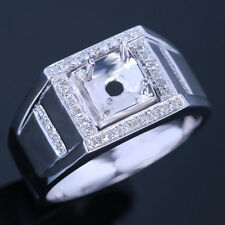 Round 5.5-6.5mm Mens Fashion Diamonds Engagement Silver Ring Semi Mount Sz 9.5#