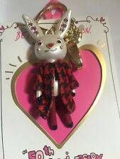 Betsey Johnson 50th Anniversary Collection Big Bunny Hug Gift Keychain NEW