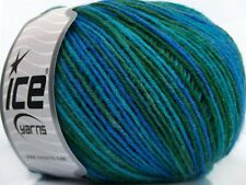 Lot of 8 Skeins Ice Yarns COLOR FINE Knitting Wool Blue Turquoise Green