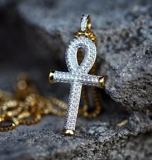 Egyptian Ankh Key Of Life Gold Cross Pendant Charm Necklace