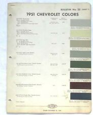 1951 CHEVROLET DUPONT COLOR PAINT CHIP CHART ALL MODELS