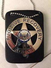 FUGITIVE RECOVERY AGENT BADGE GOLD W/THICK LEATHER HOLDER BAIL ENFORCEMENT NEW