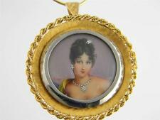 ANTIQUE 14KT GOLD MINIATURE PORTRAIT BROOCH PENDANT W/ DIAMOND RARE..ITALY GOLD