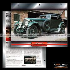 #115.01 ★ BENTLEY SPEED SIX WOOLF BARNATO 1931 ★ (SPEED 6) Fiche Auto Car card