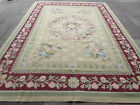 Old Hand Made French Design Wool Green Original Aubusson 365X273cm 12x9