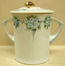 Hand Painted Blue Floral Porcelain Jam Jar & Lid, Signed Condiment Marmalade Pot
