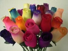 Realistic Hand Made Beautiful Colorful Birch Wood Roses Flower Bouquet - 2 Dozen
