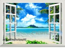 Palm Tree Beach island 3D Window View Removable Wall Sticker Decal Home decor