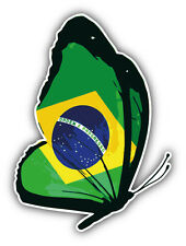 Brazil Flag Butterfly Car Bumper Sticker Decal 4'' x 5''