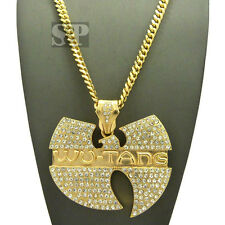 "Hip Hop Iced Out Wu Tang Pendant w/ 6mm 36"" Miami Cuban Chain Necklace XP868GMC"