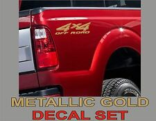 4x4 Truck Bed Decals, Gold Metallic (Set) for Ford Super Duty, F-250 etc.