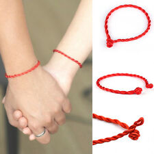 2Pcs Unisex Good Luck Hand Braided Lucky Red String Rope Cord Bracelet Gift HOT
