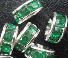 Free Ship 100Pcs Silver Green Plated Crystal Spacer Beads 8mm