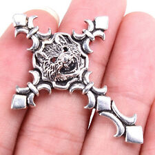 "GENUINE 925 Sterling Silver 2"" Large Lion Head Cross Tibetan Charm Pendant M1487"