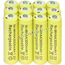 12x AA battery batteries Bulk Nickel Hydride Rechargeable NI-MH 3000mAh 1.2V Yel