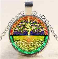 Tree of Life Heart Glass Cabochon Tibet Silver Chain Pendant  Necklace#2272