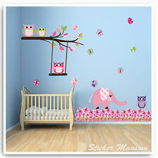 Owl Animal Wall Stickers Jungle Elephant Pink Nursery Baby Girl Bedroom Decal