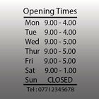 Personalised Opening hours times - Shop Sign & Telephone No - Vinyl Sticker