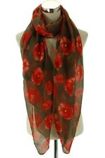 Poppy flower pattern printed scarf. Fashion Red and Brown Summer Scarf
