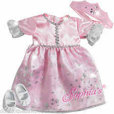 "Princess Halloween Costume Pink Glitter for 15"" Bitty Baby + Twins Doll Clothes"