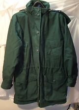 Eddie Bauer Green Hooded Wool-Lined Parka Coat Womens Size Large
