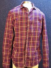 7 For All Mankind Men's Medium Plaid Shirt Blue Pink Red 2 Ply