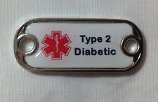 """Medical Alert """"Type 2 Diabetic"""" Dog Tag Style charm for paracord bracelets"""