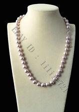 Beautiful 8mm AAA+ Purple south sea shell pearl necklace 18""
