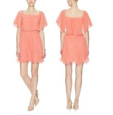 NWT BCBGMAXAZRIA BCBG SHALOM TULLE PLEATED COCKTAIL DRESS coral pink size 0 xxs