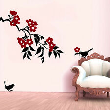 Wall Stickers Wall Decals Black Birds with Bunch of Red Flowers