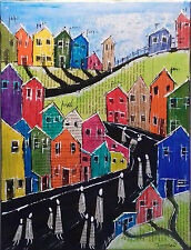 ooak Original canvas painted northern art town city landscape painting signed