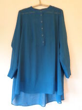 LADIES TWIGGY AT M&S WOMAN TEAL CHIFFON BLOUSE TUNIC TOP SIZE 18