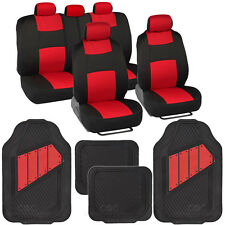 Black & Red Seat Covers Set Complete with Deep Channeled Rubber Floor Mats