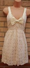 MAX C LACE EMBROIDERED FLORAL BOW CREAM SKATER CROCHET VTG BOHO DRESS 12 M