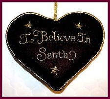 *NEW* I BELIEVE IN SANTA BURGUNDY & GOLD BEANBAG PILLOW WITH RIBBON HANGER CUTE!