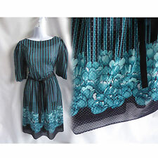 Vintage 70s Dress size M Blue Black Polka Dot Stripe Boho Disco Secretary 80s