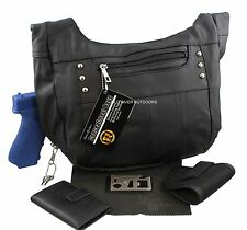 Black Roma Leather Concealment Concealed Carry Weapons Purse Performance Bundle