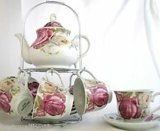 NEW 13 PC SET PORCELAIN PINK ROSE TEA COFFEE POT,TEAPOT+MUG,CUP+SAUCER,PLATE-39