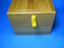 "Bamboo Cube Jewelry Box Storage Jar with Lid 6.5 x 6.5"", orange velvet"