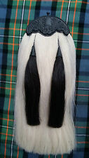 Piper Kilt Sporran Original White & Black Horse Hair Thistle Cantle/Kilt Sporran