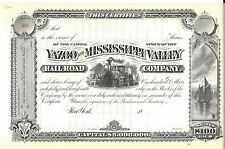 YAZOO AND MISSISSIPPI VALLEY RAILROAD COMPANY..1800'S UNISSUED STOCK CERTIFICATE