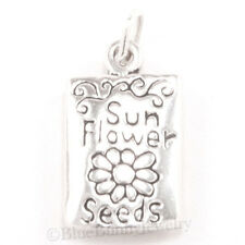3D SUNFLOWER SEED GARDEN PACKET 925 Sterling Silver Pendant .925 Charm Solid